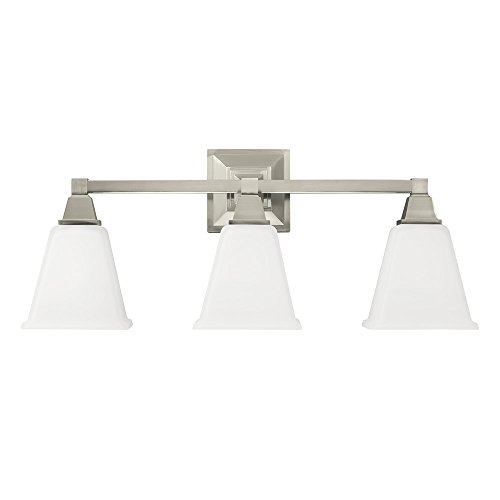 Sea Gull Lighting 4450403-962 Denhelm Three-Light Bath or Wall Light Fixture with Etched White Inside Glass, Brushed Nickel Finish ()