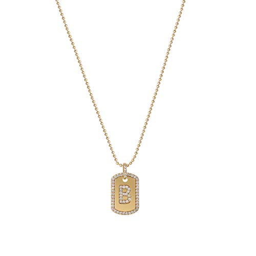 Rectangle Bead Necklace - Gold Initial Necklace,Women 14K Gold Plated Military Ball Beads Chain Dog Tag Necklace Handmade Dainty CZ Boys Necklace 17.7
