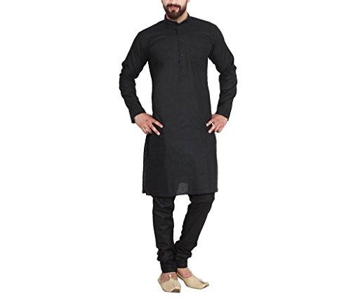 Chudidar Kurta Dress - CRAFTSTRIBE Men'S Black Cotton Linen Kurta Pyjama
