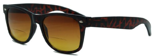 Retro Wayfarer Bifocal Sunglasses Give a Classic Look for Active Men and Women/tortoise/2.25