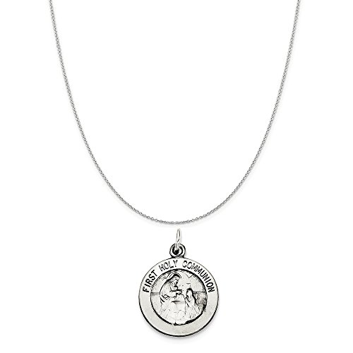 Sterling Silver Antiqued First Holy Communion Medal on a Sterling Silver Cable Chain Necklace, ()