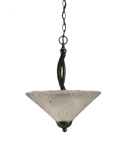 2 Light Uplight Pendant - Toltec Lighting 274-BC-711 Bow Black Copper Finish 2 Bulb Uplight Pendant with Frosted Crystal Glass, 16-Inch
