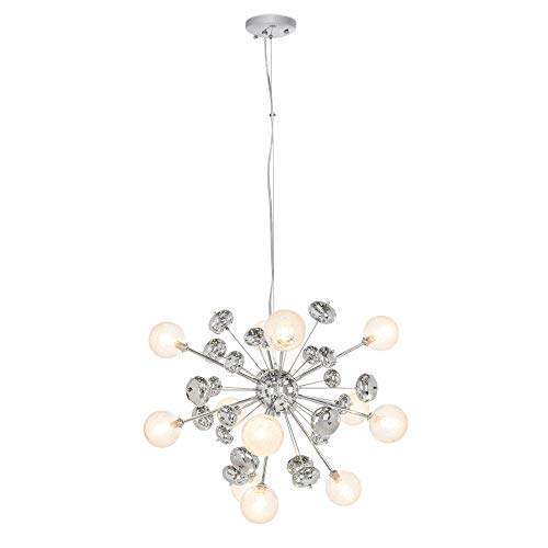 - Best Choice Products Mid-Century Modern Metal Hanging Cluster Pendant Lighting Chandelier Fixture for Living Room, Dining Room w/ 12 Lights, Adjustable Height - Silver