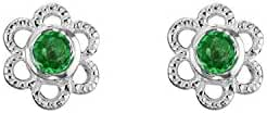 Sterling Silver Children's Flower Stud Earrings with Birthstone