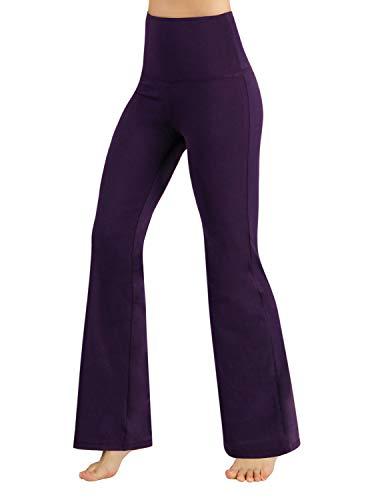 ODODOS Power Flex High Waist Boot-Cut Yoga Pants Tummy Control Workout Non See-Through Bootleg Yoga Pants,DeepPurple,Large