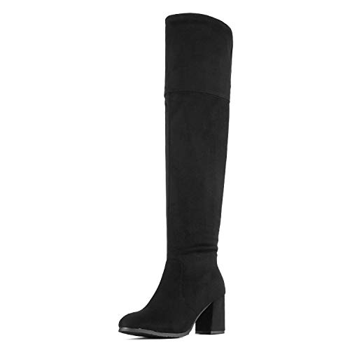 DREAM PAIRS Women's Stretch_HIGH Black Thigh High Block Heel Over The Knee Boots Size 8.5 B(M) US