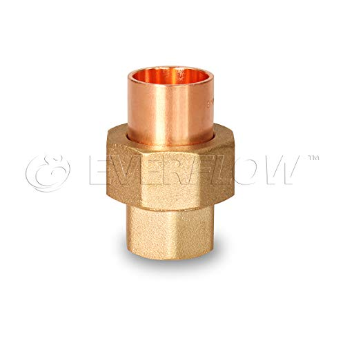 Everflow Supplies CCCU0100-NL 1'' Nominal Size Lead Free Copper Straight Union with Sweat Sockets for Use with 1-1/8 OD Copper Pipe by Everflow Supplies