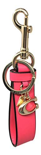 (Coach Neon Leather Loop Key Chain FOB Pink F58502)
