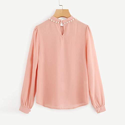 Fin Chemisier AiBarle Rose Soie de M Manches Chemises Bureau Femme pour Longues rose en Mousseline Perles 1xBrzv1q
