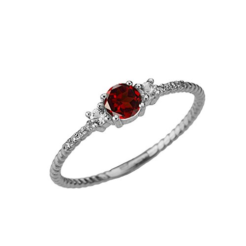 (Dainty 10k White Gold Diamond with Solitare Garnet Rope Design Engagement/Proposal Ring (Size 4.75))