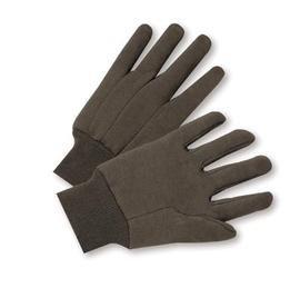 Glove Premium Jersey Brown - Radnor Glove Jersey Large Brown 10 Ounce Premium 100% Cotton With Knitwrist -1 Dozen Pairs