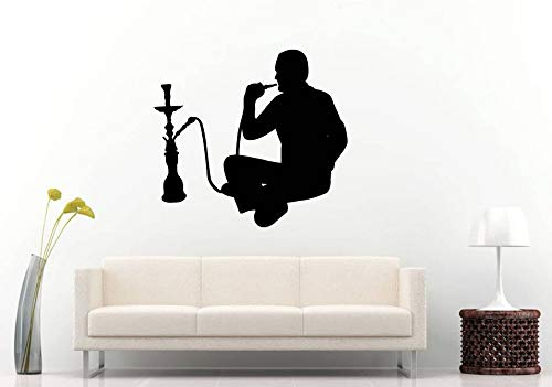 AdecalsNew Wall Decals Cute-Hookah Shisha Tobacco Bar Lounge Smoking Puffing Sitting Man Lotus Pose Wall Sticker Decal Vinyl Mural Decor Art - Made in USA-Fast delivery (Best Shisha Tobacco Brand)
