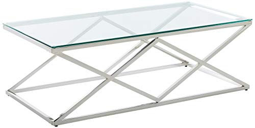 Cortesi Home CH-CT656945 Gwen Coffee Table, 47.25 , Glass and Metal