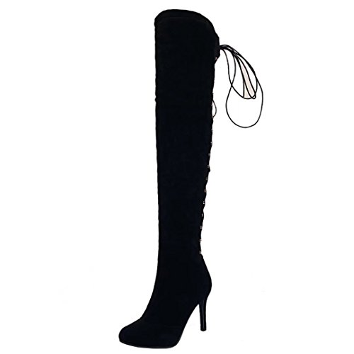 Aiyoumei Womens Lace-up Lange Laarzen Puntschoen Stilettos Herfst Winter Over De Knie Laarzen Zwart