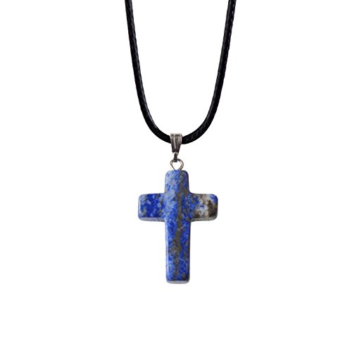 - ZHEPIN Bless Gems Cross Pendant Necklace Healing Gemstone Symbol of Salvation, Good News