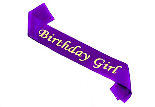 Birthday Sash in Satin Purple with Birthday Girl Gold Lettering Decorations for Women and Girls for 16th 18th 21st 30th 40th 50th 60th 70th 80th Happy Party Favor Birthday Outfit -