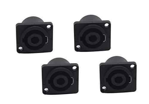 (Devinal SpeakOn 4 Pole Female Panel Mount Socket, Rectangle Twist Lock Speaker Compatible with Neutrik Speakon NA4LJ, NA4LJX, NL4MP, NL4MPR, NL4FC, NL4FX, NL4 & NL2 Series, NL2FC 4 Pack)