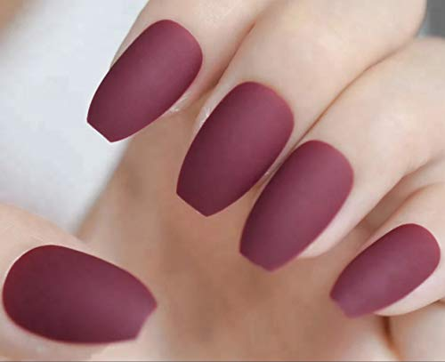 EDA LUXURY BEAUTY DARK RED WINE BURGUNDY MATTE GLAMOROUS DESIGN Full Cover Press On Gel Glitter Artificial Nail Tips Acrylic Medium False Nails Long Ballerina Coffin Square Super Fashion Fake Nails