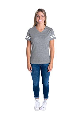 LAT Apparel Ladies Football Jersey V-Neck Tee [Medium] Vintage Heather / White Short SleeveT-Shirt