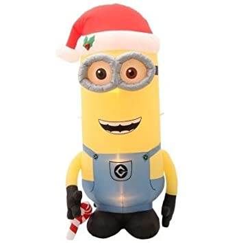 8 despicable me inflatable minion kevin with candy cane christmas holiday outdoor yard decoration light
