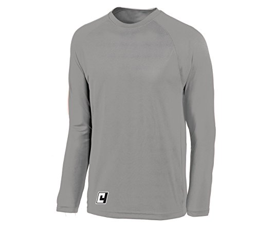 Long Sleeve Goalkeeper Training Jersey (Lightweight Tech Long-Sleeve Shirt - size Adult L - color Silver)