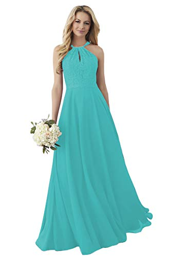 Women's Halter Lace Bodice Bridesmaid Dresses Long Chiffon Formal Wedding Evening Gowns Turquoise 6