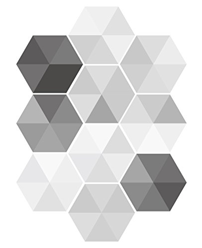 EZSpace 3D Wall Decorations Removable Marble Hexagon Tile Fashion DIY Wall Mural, Anti-Skid Floor Sticker (10Pcs Luxurious Silver) ()