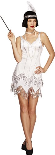 Fancy Dress Size 20 (Smiffy's Women's Fever Flapper Dazzle Costume, Dress with Sequins and Headband with Feather, Twenties, Fever, Size 14-16, 22790)