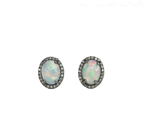 White Opal Pave Diamond Stud Earring Oxidized Sterling Silver Genuine Ethiopian opal gemstone - 10mm by Nadean Designs
