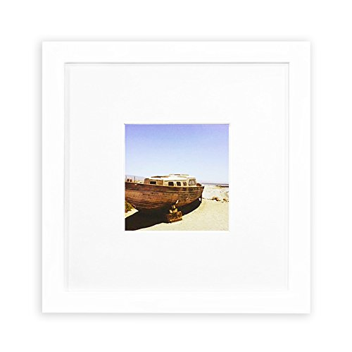 Golden State Art, Smartphone Instagram Frames Collection, 8x8-inch Square Photo Wood Frame with White Photo Mat & Real Glass for 4x4 photo, - Square Frame