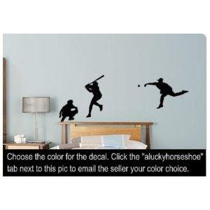 Baseball, ball, sport, decal, sticker, vinyl, wall, decor, 28 X 80 inches (Baseball Player Wall Decal)
