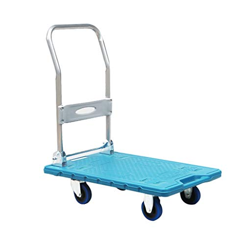 - Folding Plactic Platform Cart with Swivel Wheels, 100kg Heavy Duty,Flatbed Hand Truck Moving Dolly Trolley, Portable for Commercial and Home Use