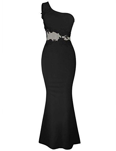 de Noche Bordado Mujer Bright Pez Negro de en para Vestido de Cola de Especiales Contraste y Asimétrico Ocasiones Vestidos Floral Deer con Aplicaciones Largo qwAqvp