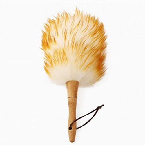 Lambs Wool Duster with Solid Wooden Handle,Leather Hang Strap,18.9 inchs Long,Comfortable Grip Natural Feather Duster for Cleaning Screen,Funiture,Ceiling Fans,Blinds etc(Pack of 1)