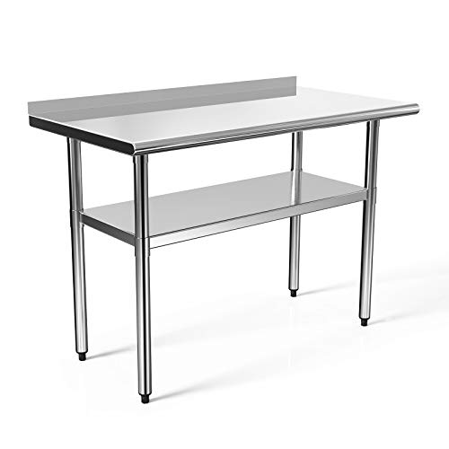 48x24 in Stainless Steel Prep Table NSF Commercial Work Table Food Metal Table Heavy Duty Kitchen Garage Worktables and Workstations Sandwich Top