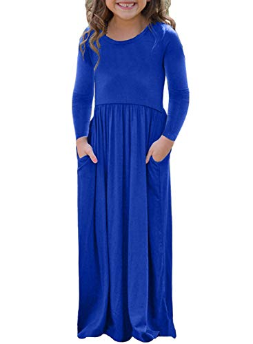 AlvaQ Girls Cap Winter Soft Long Sleeve Maxi Dress Casual Size 4-6 Blue -