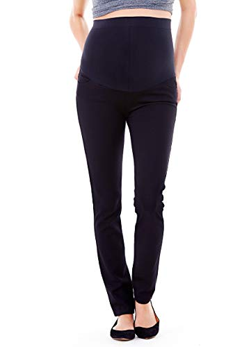 Ingrid & Isabel Women's Ponte Maternity Work Pant with Bellyband - Black ()