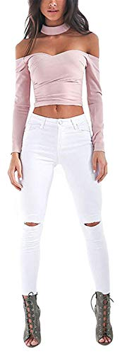 Cintura Stretch Primavera Hombres Boyfriend Blanco Alta Hole Pantalones Los Mujeres Distressed Washed De Señoras Ripped Denim Dchen Jeans Verano q0wBx8X