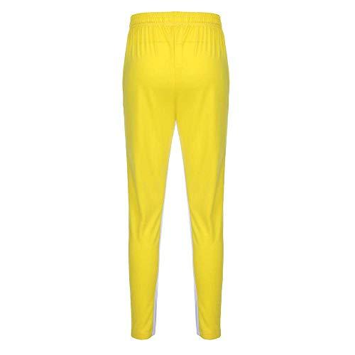 b1e67fc9ba4375 Men Splicing Lattice Casual Sport Jogger Trouser Pants (Yellow-US: XL/Tag :  2XL)