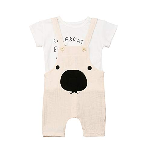 Toddler Baby Boys Girls Jumpsuit Outfit Letter Short Sleeve T-Shirt and Bear Suspenders Overalls Romper Pant Clothes (Beige, 12-18 Months)