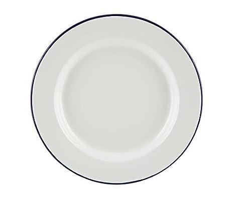 EWD Falcon Traditional Enamel White Blue Rim 26cm Dinner Plate Steak Roasting Baking Camping