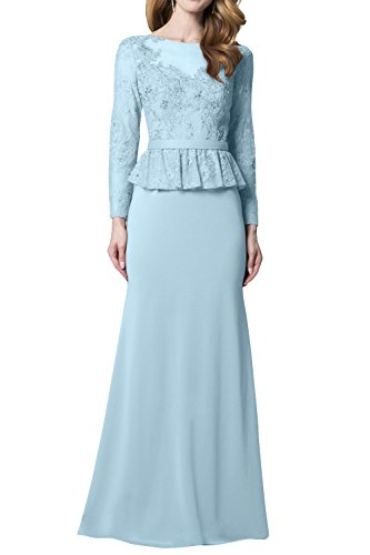 Langes Abendkleider Trumpet Brautmutterkleider Spitze Blau La mia Etuikleider Himmel Langarm Promkleider mit Neu Damen Brau pPwwEnxqSX