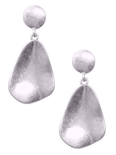Distressed Silver-Tone Asymmetrical Teadrop Pierced Post Back Dangle Drop Earrings 1 7/8