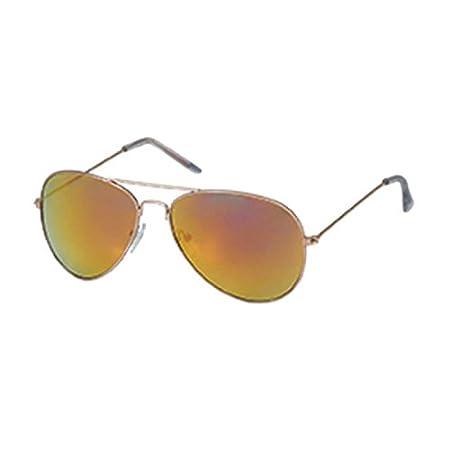 Chic-Net Sonnenbrille Pilotenbrille Aviator Style 400 UV Metallbügel verspiegelt golden 6VRfN