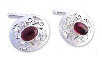 NOVICA Sterling Silver and Garnet Cufflinks, 'Royal Red Rose'