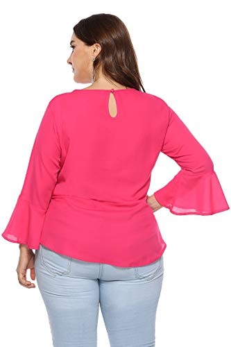 Blouse Os026 Manchon Courte Casual Imprim Taille Inflower Tops Rose Fille T Grande Femme Shirt Tops Cloche Chemise Rouge Chic Tunique qvwYYgtTP