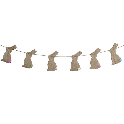 OULII Easter Burlap Banners Bunny Rabbit Bunting Flags Jute Garland For Easter Decorations Home Party Decor Favors