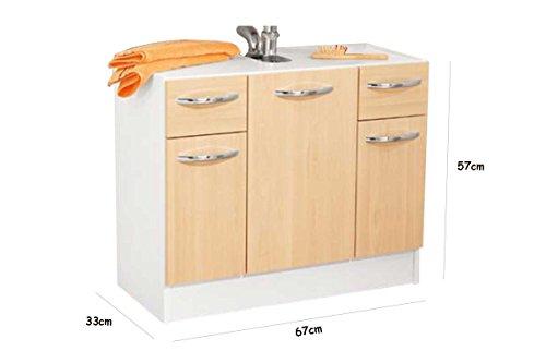 Miomare® Waschbecken Unterschrank Weiß/Birke: Amazon.de: Küche ...