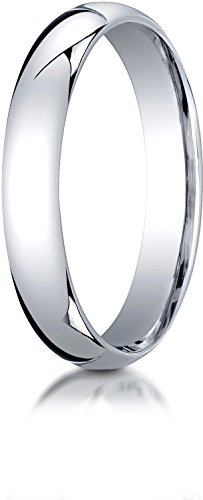 Benchmark 14K White Gold 4mm Slightly Domed Super Light Comfort-Fit Wedding Band Ring, Size 8.25 by BANVARI
