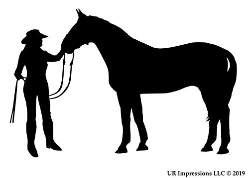 UR Impressions Blk Cowgirl and Horse Decal Vinyl Sticker Graphics for Cars Trucks SUV Vans Walls Windows Laptop|Black|5.5 X 3.6 ()